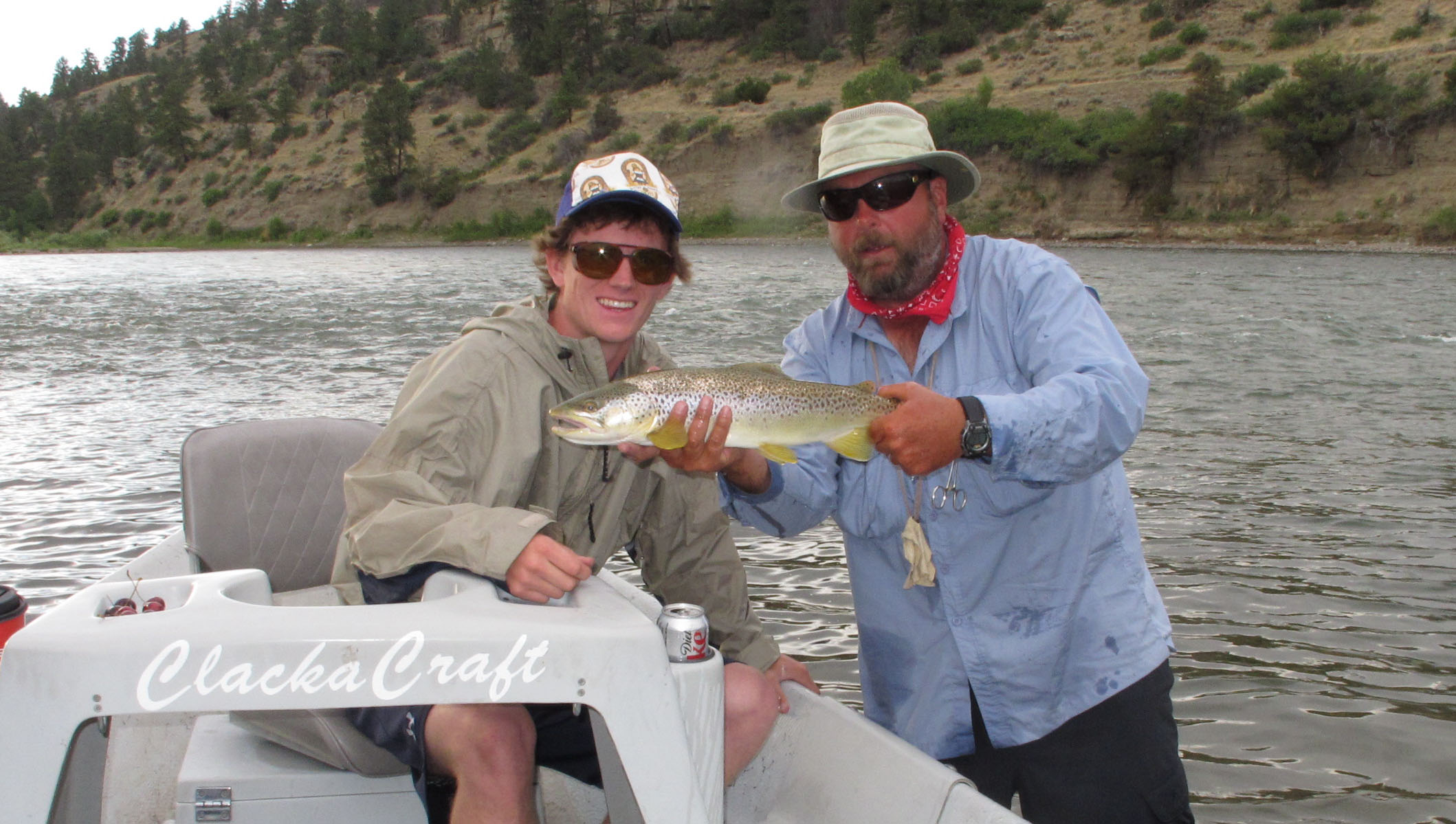 Picture of Winton and his big brown trout on the Yellowstone River
